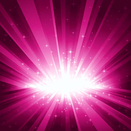 light burst: Festliche lila Licht Burst und Sternen mit Zentrum im unteren Drittel des quadratischen Bildes.  Illustration