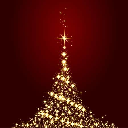 glistening: Estrellas de oro formando un �rbol de Navidad brillantes sobre un fondo rojo oscuro. El uso de muestras de color mundial, las mezclas, m�scara de recorte, degradados lineales. Obra de agruparse y en capas.