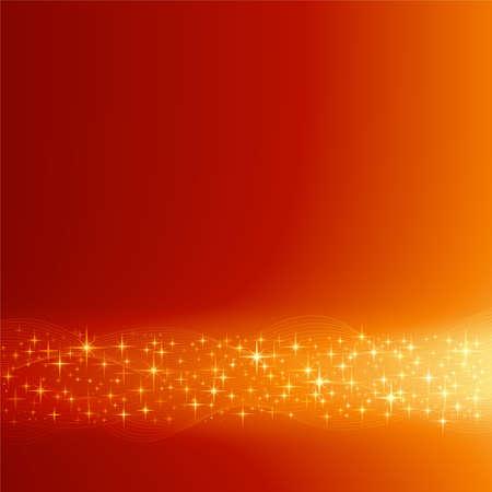 Quadratischen roten orange festliche abstrakte Hintergrund mit Sternen. Hintergrund durch Mischung mit Schnittmaske, Verwendung von globale Farben vorgenommen. Illustration