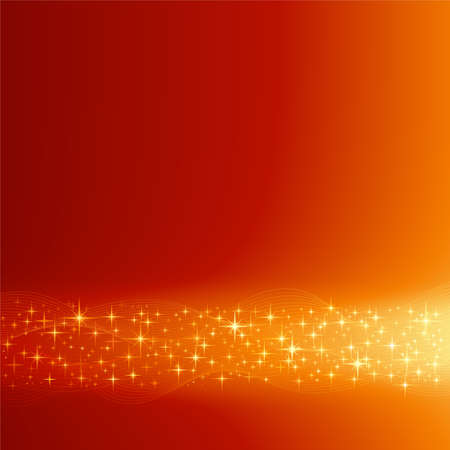 Square red orange festive abstract background with stars. Background made by blend with clipping mask, use of global colors.