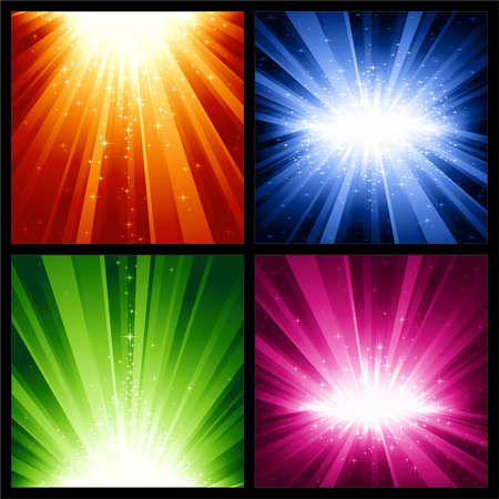 4 different light bursts with magic stars in 4 interchangeable color schemes of 7 global color swatches each. Artwork grouped and layered.