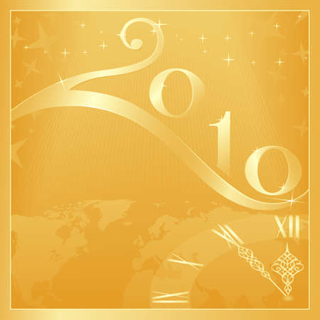 Golden Happy New Year and Merry Christmas 2010 card with clock at 5 minutes to 12. Use of global colors, blends, linear gradients. Vector