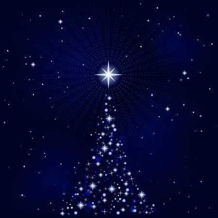 Abstract fondo de Navidad con el árbol de Navidad, Pacífico, tranquilo y silencioso. Uso de 10 colores globales, mezclas. Ilustración agrupados y en capas.