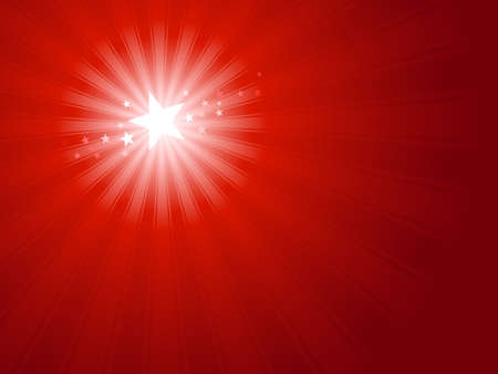 and shining: Red horizontal Christmas and New Years background. Shining white Christmas star surrounded by little stars in upper left third of image. Use of radial gradients and global color swatches.