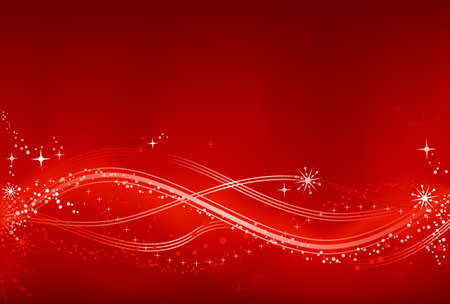 clipping mask: Red white abstract Christmas background with stars, snow flakes, stars and grunge elements. Background made by blend with clipping mask, use of 7 global color swatches.  Illustration