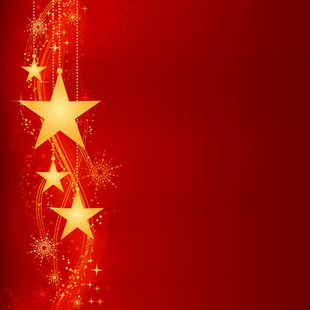 clipping mask: Festive dark red Christmas background with golden stars, snow flakes and grunge elements. Artwork grouped and layered. Background with blend and clipping mask. Use of linear and radial gradients. Illustration