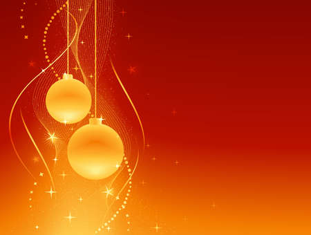 Festive red orange Christmas background with baubles, stars and swirls. Artwork grouped and layered. Background made by blends and clipping mask.  Illustration