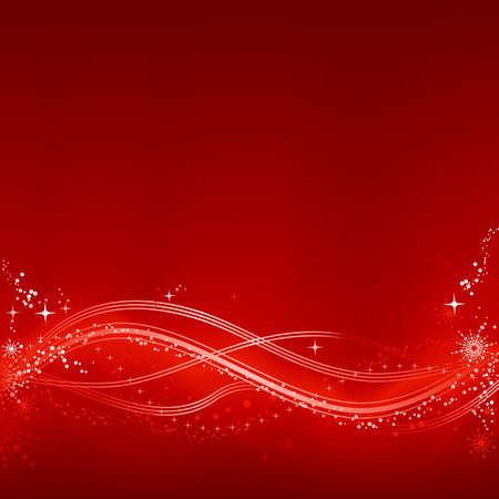 scratch card: Square red white abstract Christmas background with stars, snow flakes, stars and grunge elements. Background made by blend with clipping mask, use of 7 global color swatches.