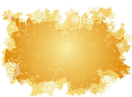 Golden winter background with stars, snow and grunge elements. Artwork grouped and layered. Use of radial and linear gradients. Stock Vector - 5849195