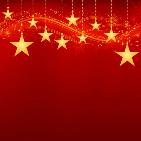 greeting season: Festive dark red Christmas background with golden stars, snow flakes and grunge elements. Artwork grouped and layered. Background with blend and clipping mask. Use of linear and radial gradients.