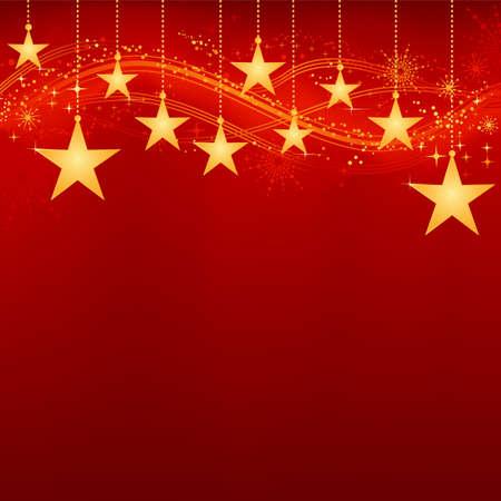 saludo: Festivo de Navidad de fondo rojo oscuro con estrellas doradas, copos de nieve y elementos grunge. Obra de agruparse y en capas. El fondo con la mezcla y la m�scara de recorte. El uso de degradados lineales y radiales.