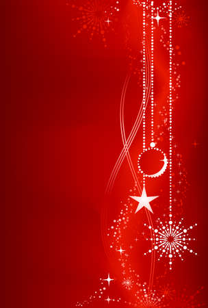 Festive dark red Christmas background with star, snow flake, bauble and grunge elements. Artwork grouped and layered. Background with blend and clipping mask. Use of linear and radial gradients.  Vector