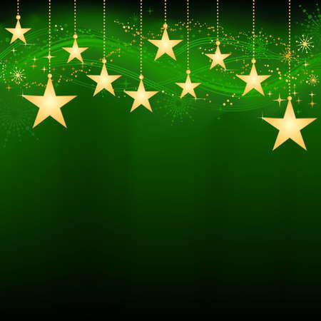 snow flakes: Feestelijke donker groen Kerst achtergrond met gouden sterren, sneeuwvlokken en grunge elementen. Artwork gegroepeerd en lagen. Achtergrond met mix en knip masker. Gebruik van lineaire en radiale verlopen.