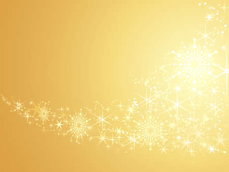 Abstract festive background with shiny stars and snow flakes. Artwork grouped and layered. Use of linear and radial gradients, global color swatches.  Vector