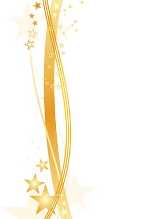 lineas onduladas: Oro l�neas onduladas y estrellas formando una frontera festiva en blanco. Ilustraci�n agrupados y en capas. Uso de degradados lineales y radiales, muestras de color global.