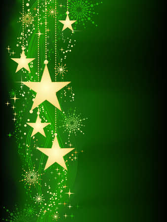 grouped: Festive dark green Christmas background with golden stars, snow flakes and grunge elements. Artwork grouped and layered. Background with blend and clipping mask. Use of linear and radial gradients.