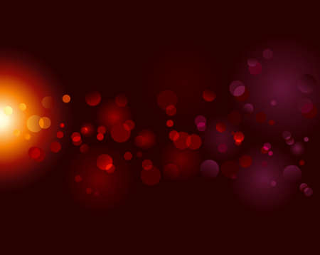 light effects: Magic sparkle, light dots on black background with copy space. Vector bokeh effect. Use of blends, no radial gradients. Illustration