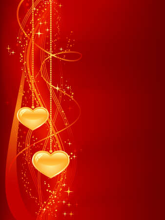 passionate: Romantic background in red gold with hearts. Vertical abstract background for your romantic designs. Great for Valentines day, etc. Use of blends, clipping mask, gradients, global color swatches.