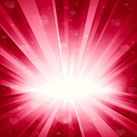 transparencies: Romantic background with hearts and stars in pink. Explosion of light, stars, and hearts. Background for your romantic designs. No transparencies. Light beams, hearts and stars on separate layers.
