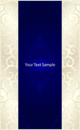 Vertical stylish template with silver beige scrolls left and right and a royal blue center with floral elements and space for our text. 7 global colors, gradients used.  Illustration