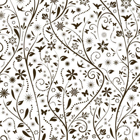 seamlessly: Floral pattern with flower, butterfly and bird silhouettes that tiles seamlessly. Great for spring designs.