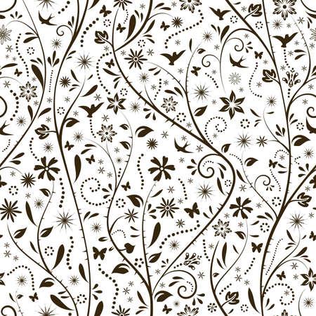 seamlessly: Motivo floreale con fiori, farfalle e uccelli silhouettes che tessere senza soluzione di continuit�. Grande per i disegni di primavera.