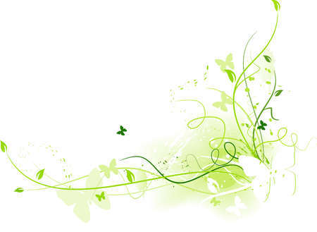 Abstract grunge background with floral elements and butterflies and space for your text in shades of green. Use of linear gradients. Stock Vector - 6811971