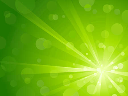 Explosion of light with shiny light dots, striking abstract background in shades of green. Vector