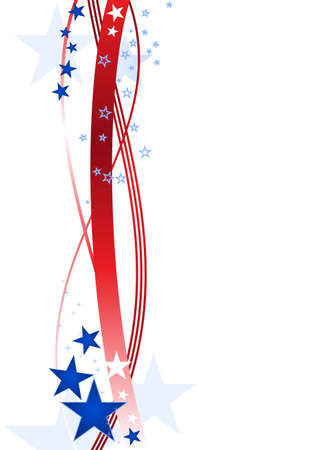 patriotism: Red wavy lines and blue stars forming a patriotic border on white.   Illustration