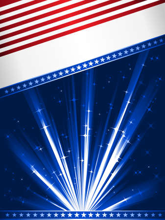 Stylised Stars and Stripes. Patriotic, 4th July celebration background. Use of linear gradients, global colors. Artwork grouped and layered.