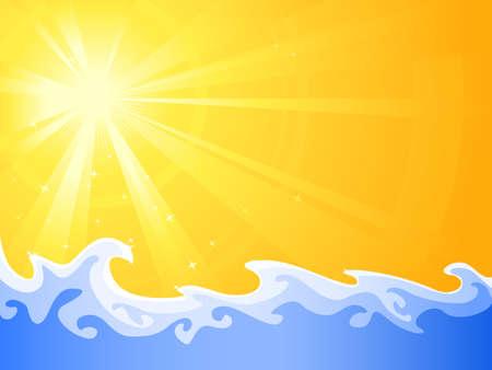 light burst: Asymmetrische sonnigen light Burst mit coolen entspannende Wasserwellen. Verwendung von radialen und linearen Verl�ufen, globale Farben. Artwork ordentlich gruppiert und geschichtet. Illustration