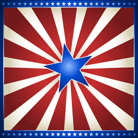 parade: USA, 4th of July red and white star burst with shiny blue centre star. Use of gradients, global colors.