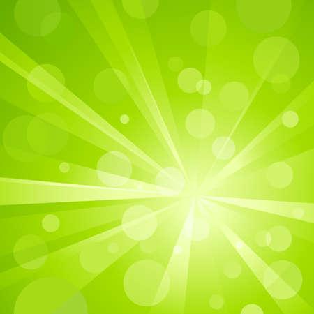rallas: Explosi�n de luz con puntos de luz brillantes, golpeando el fondo abstracto en tonos de verde. Uso de degradados radiales y lineales, colores globales. No transparencias. Ilustraci�n agrupados y en capas.  Vectores