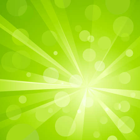 Explosion of light with shiny light dots, striking abstract background in shades of green. Use of radial and linear gradients, global colors. No transparencies. Artwork grouped and layered.
