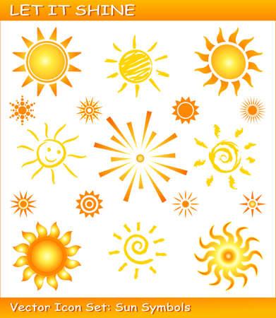 sol caricatura: s�mbolos de sol en diferentes estilos. Uso de muestras de color global, degradados lineales y radiales. Se agrupan los iconos a�adidas.  Vectores