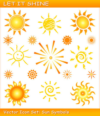 sun symbols in different styles. Use of global color swatches, linear and radial gradients. Sinlge icons are grouped. Vector