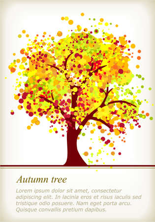Colorful autumn tree with space for your text made of colorful dots in bright autumn colors. Use of global color swatches, blends and no gradients. Vector