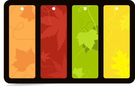 leaves in bright autumn colors. Global color swatches, no gradients, artwork grouped and layered. Vector