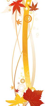 lineas onduladas: L�neas onduladas y hojas de oto�ales en colores brillantes, formando un borde o marco.  Vectores