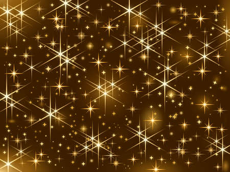 Shiny golden stars, Christmas sparkle, starry sky  - dark brown background with sparkling golden stars.  Illustration