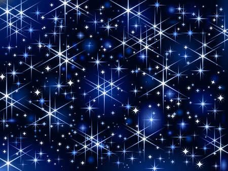 cielo estrellado: Fondo azul oscuro con estrellas brillantes y espumosos.  Vectores