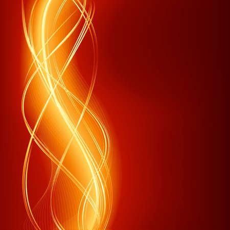 Fondo de onda abstracta resplandeciente en llamas rojo de oro.  Ilustración de vector
