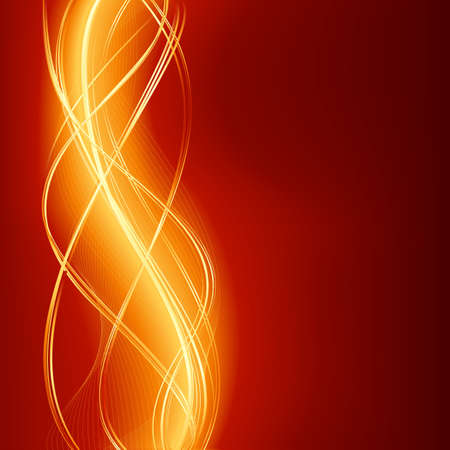 Glowing abstract wave background in flaming red golden.