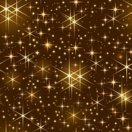 tegelwerk: Naadloos naast elkaar patroon van gouden glanzende sterren op een donkere achtergrond. Gebruik van lineaire en radiale verlopen, algemene kleur stalen.  Stock Illustratie