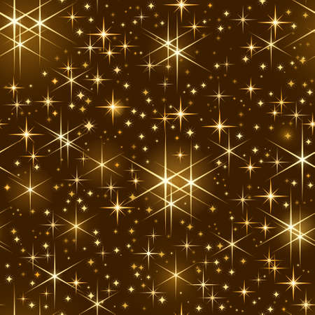 Seamlessly tiling pattern of golden shiny stars   on dark background. Use of linear and radial gradients,   global color swatches.