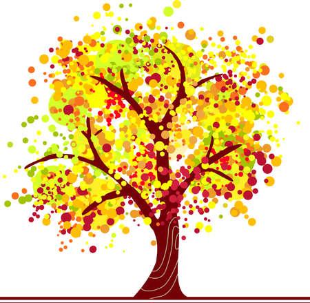 feuillage: Arbre automne de points colorés en couleurs vives.  Illustration