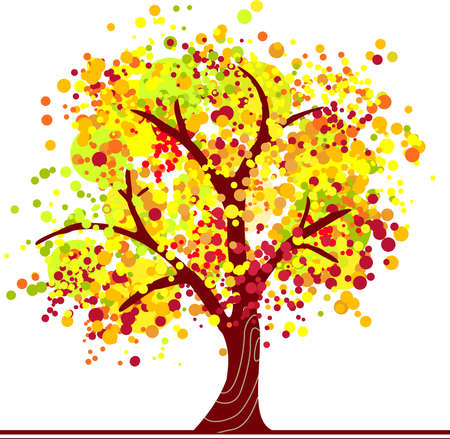 Autumn tree made of colorful dots in bright colors.