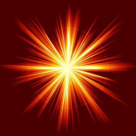 Light burst, fireworks, lens flare. Square red orange explosion of light. Linear gradients, no transparencies. Illustration