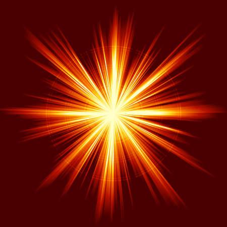 Light burst, fireworks, lens flare. Square red orange explosion of light. Linear gradients, no transparencies.