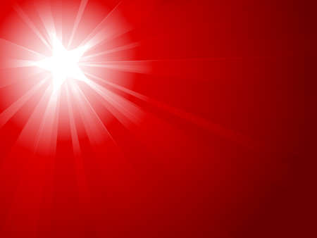 Light burst from white to dark red with a white star in the center in the upper left third. Vector background. Vector